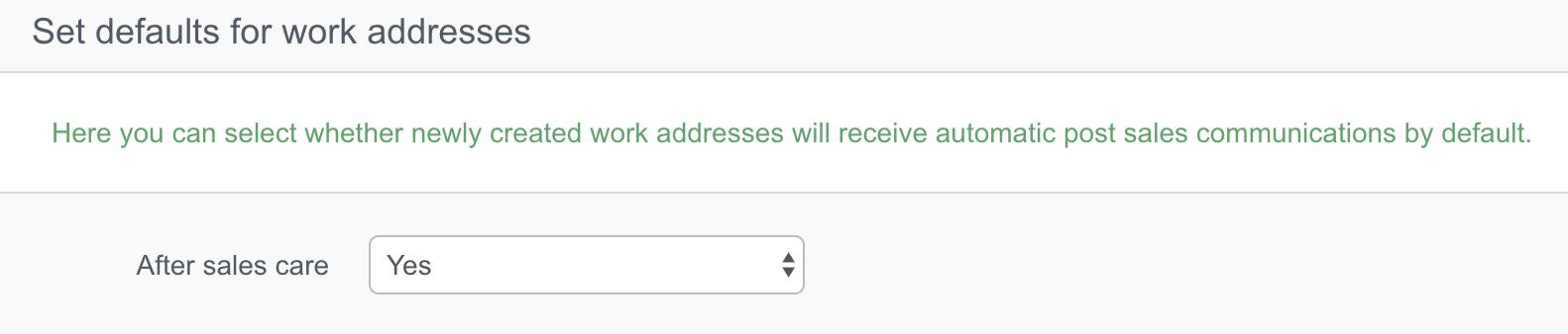 ASC work address defaults