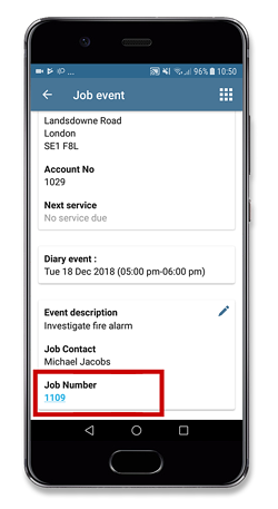 Quick access to the job or estimate record on Android
