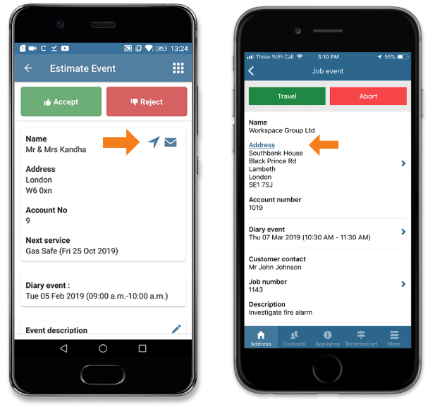 App address navigation