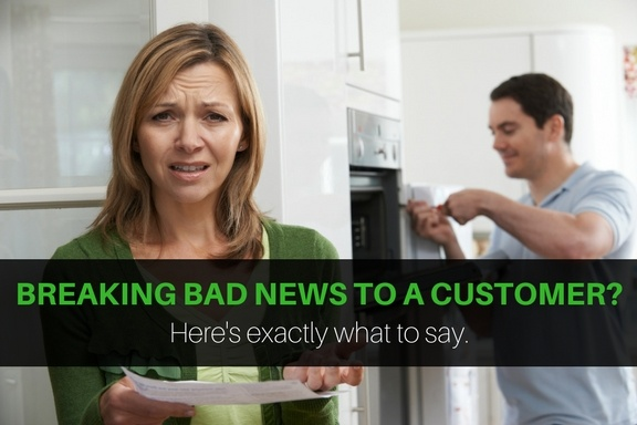 Field service engineer breaking bad news to a customer