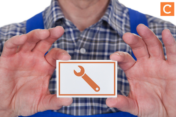 Small business branding for field service header - engineer holding business card