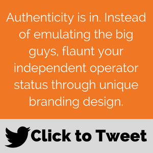 Small business branding for field service Click to tweet: Authenticity is in. Instead of emulating the big guys, flaunt your independent operator status through unique branding design.