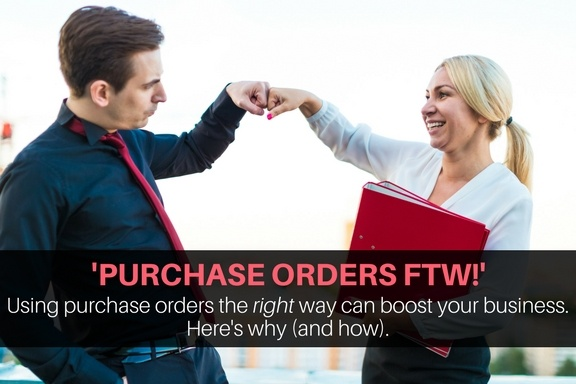 How to use purchase orders. Businesspeople high-fiving because they did it right!
