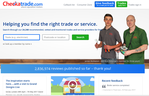 Checkatrade review website for plumbing and heating company