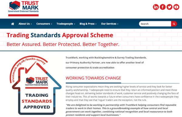 TrustMark review website for plumbing and heating company