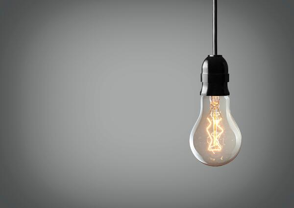 Light bulb to symbolize the solution for disorganised companies