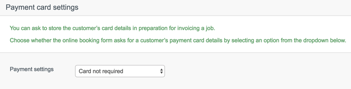 Booking form payment setting