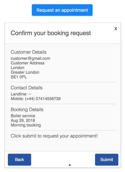 Booking form request