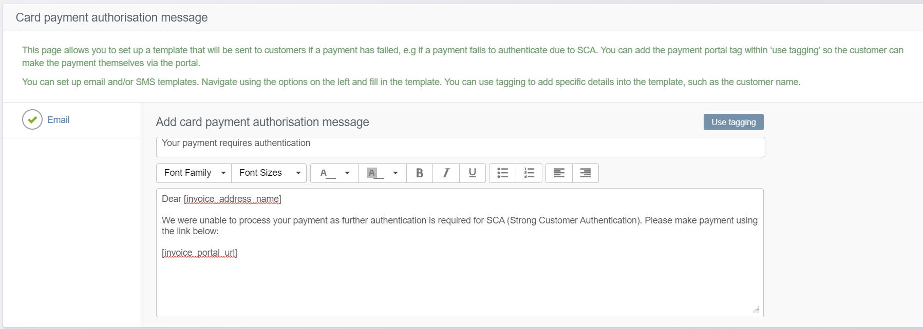 Card oayment authorisation message