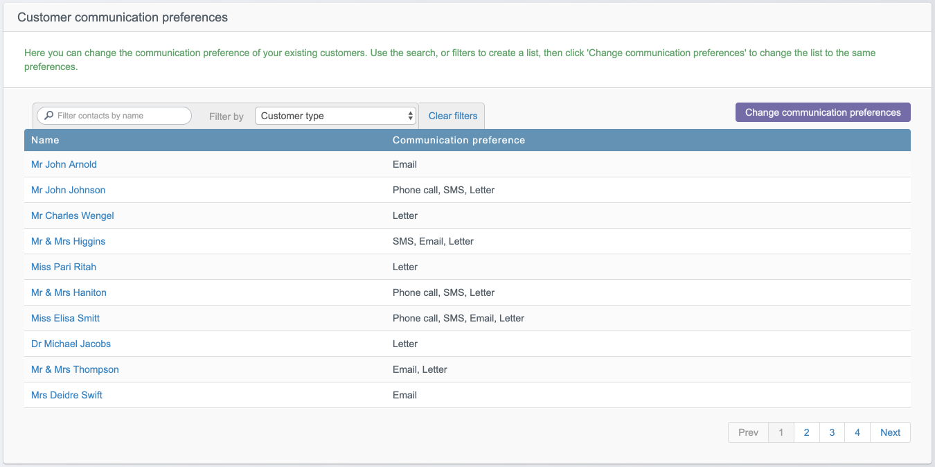 Bulk editing customer communications