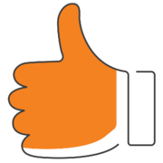 orange thumbs up for a happy customer