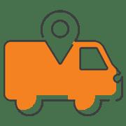 orange van being tracked by gps pin