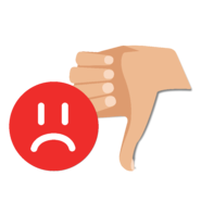 thumbs down with an unhappy customer face