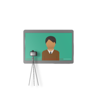 a man on a screen with a video camera recording