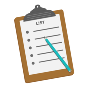 a clipboard with a list