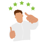 happy customer giving thumbs up and 5 stars