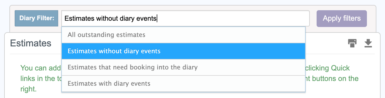 Estimate diary event filter