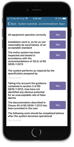 Fire alarm commissioning mobile