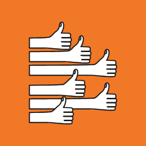 6 thumbs up on orange background for customer retention