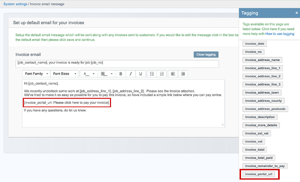 setup invoice portal email