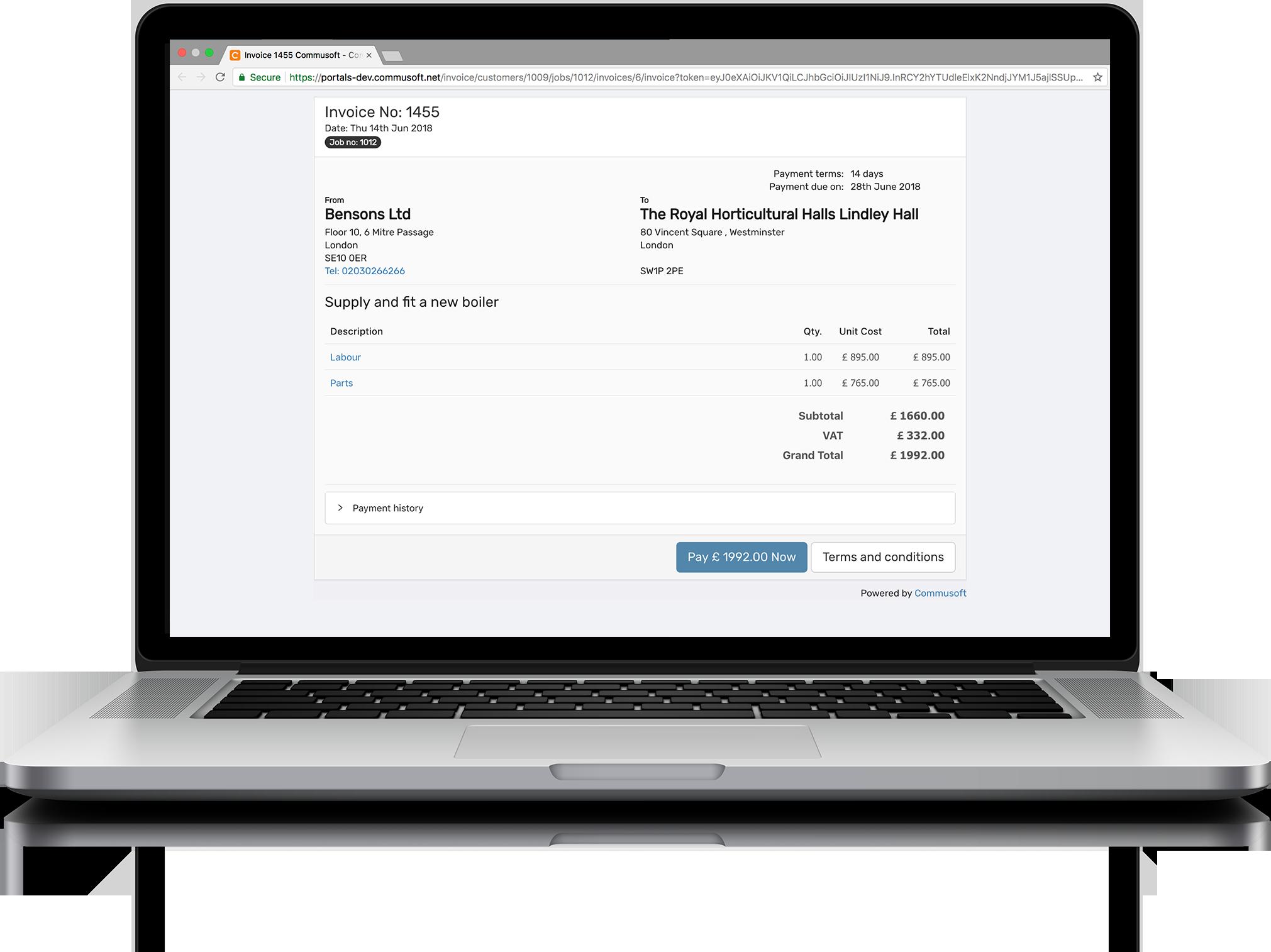 Invoice portal feature