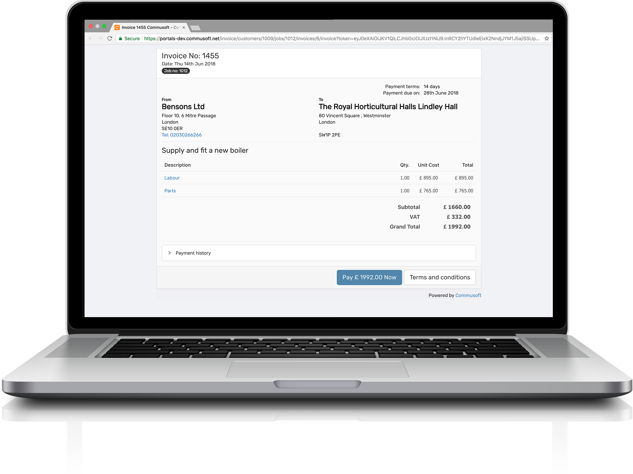 Invoice portal feature