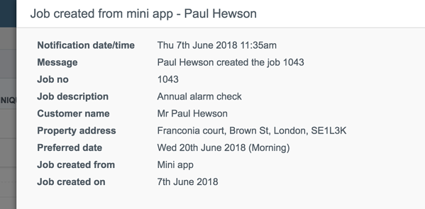 Mini app notification info