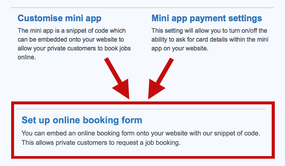 Online booking form settings
