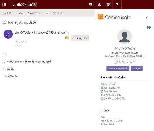 Outlook customer detail