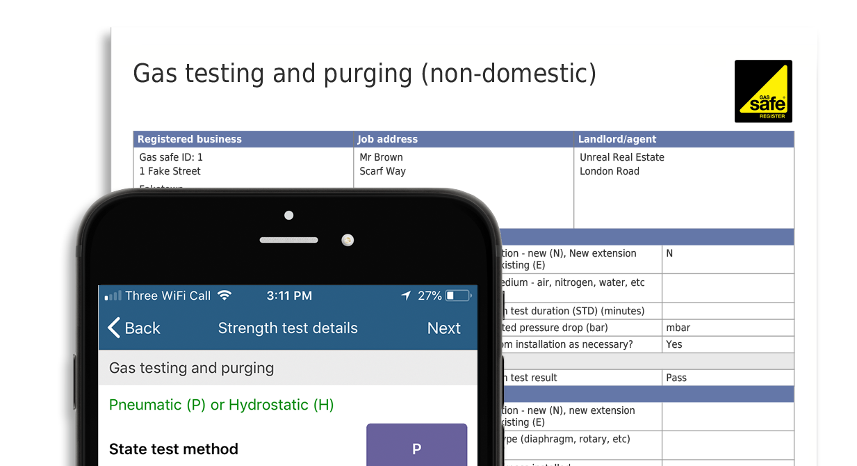 Purging and testing certificate