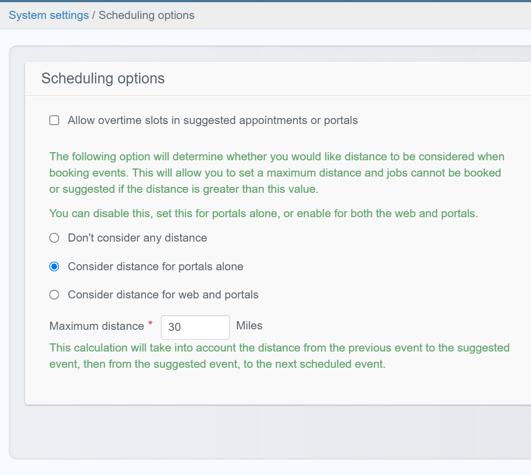 Scheduling options screenshot 2