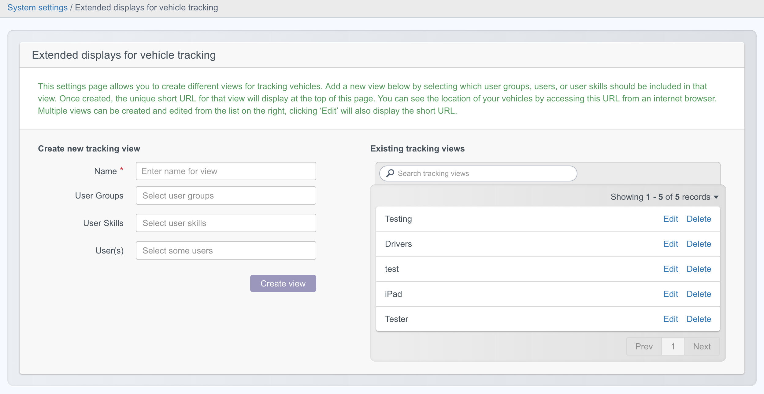 Tracking view settings page