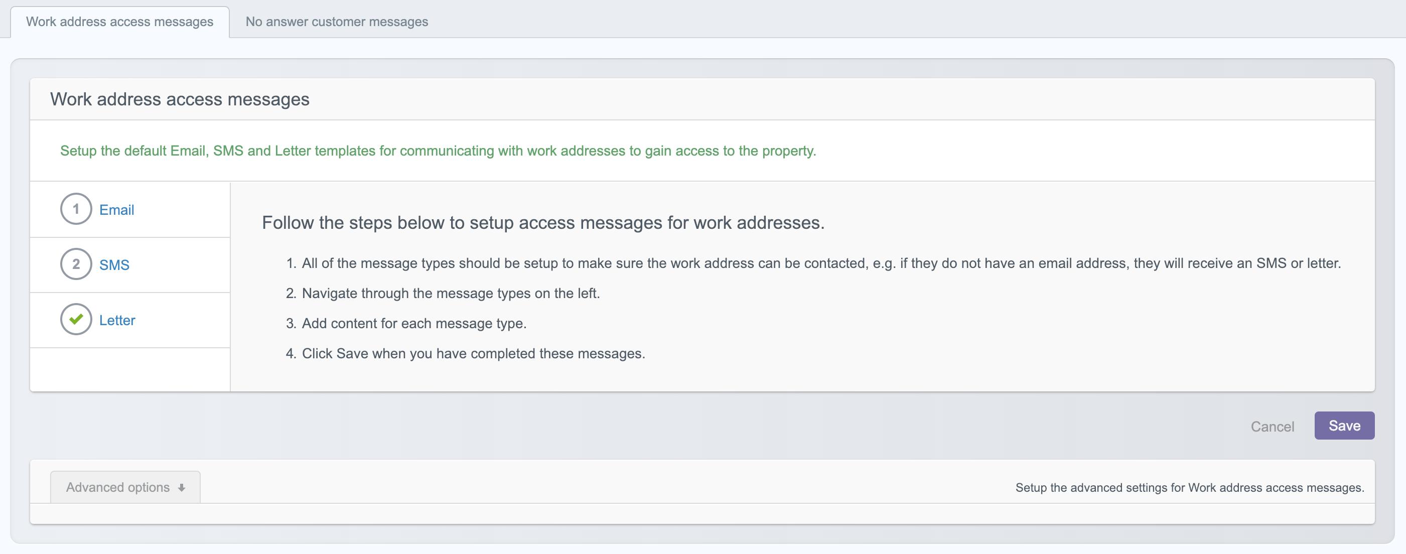 Add work access message