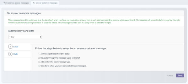 Adding the no answer customer message