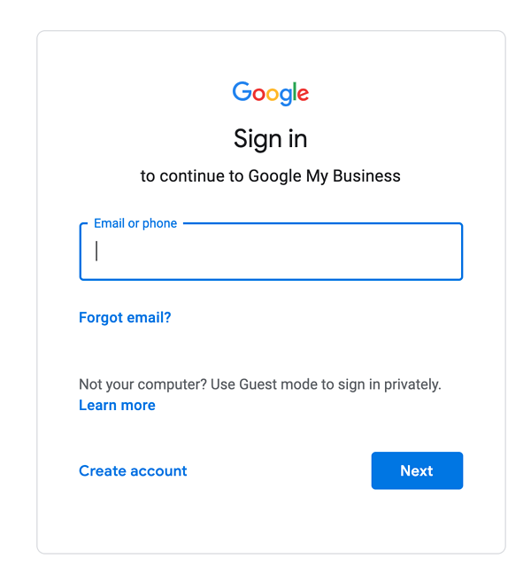 Sign in to google my business