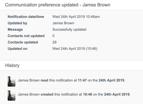 Communication preference updates notification