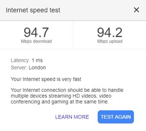 Running a speed test