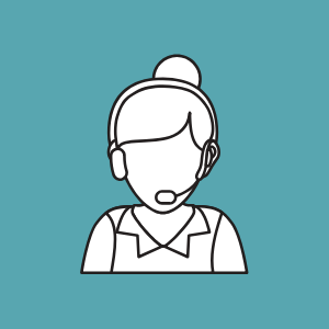 female cartoon outline with headset on on a blue background, customer contact