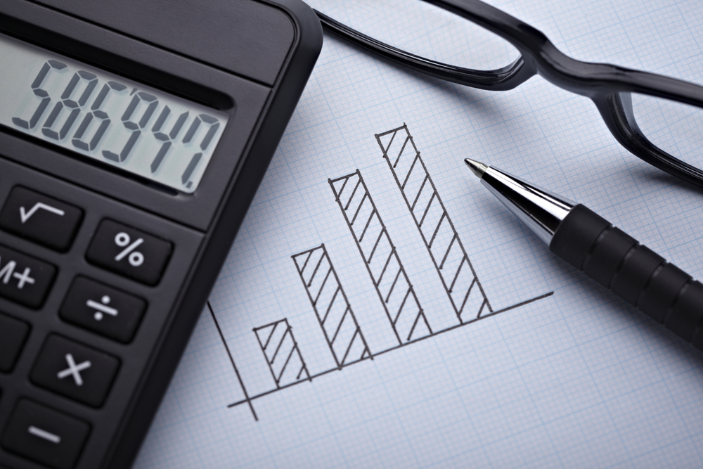 close up of a finance graph on an office desk with calculator on display