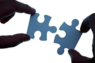 close up of a puzzle game parts being put together