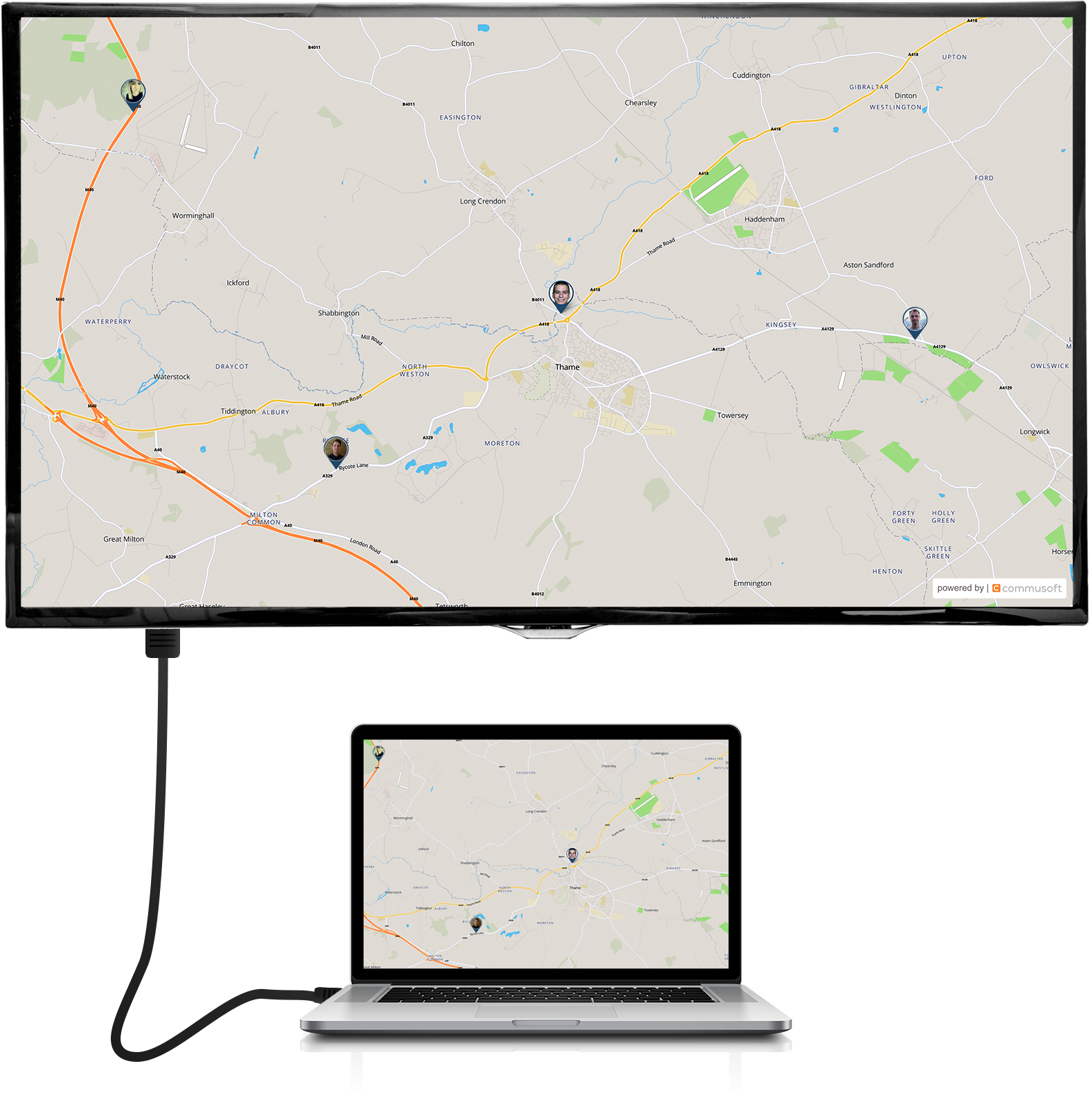 Vehicle tracking extended display