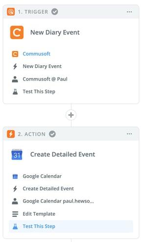 Zapier workflow for Commusoft diary event to Google Calendar