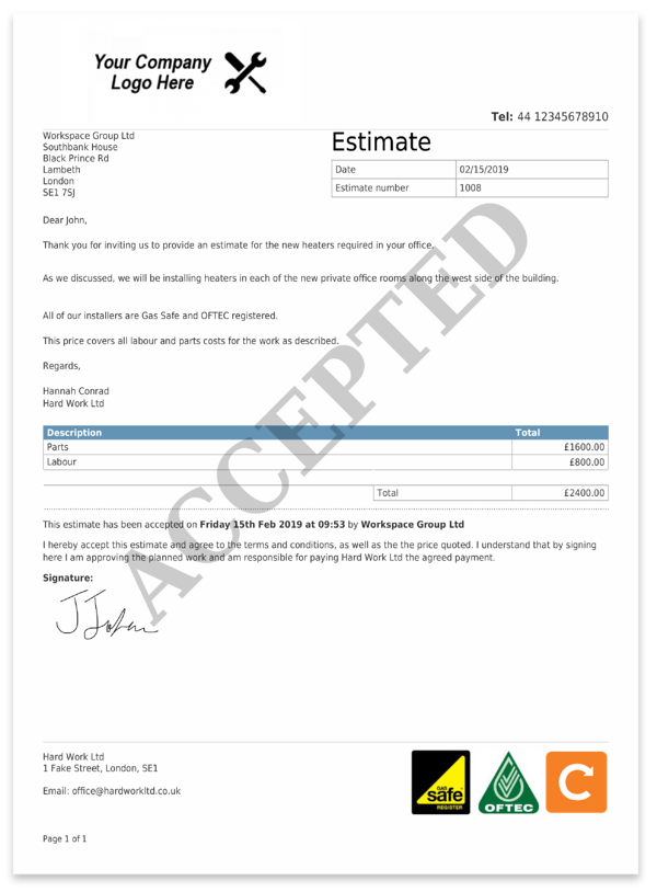 "Estimate PDF with ""Accepted"" watermark and customer signature"