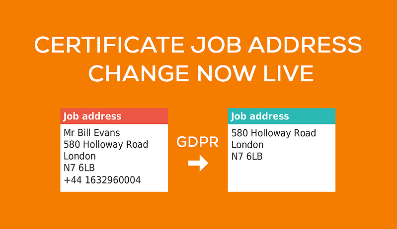 Certificate job address change now live