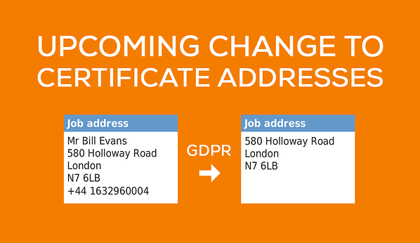 Upcoming GDPR change to certificate addresses in Commusoft