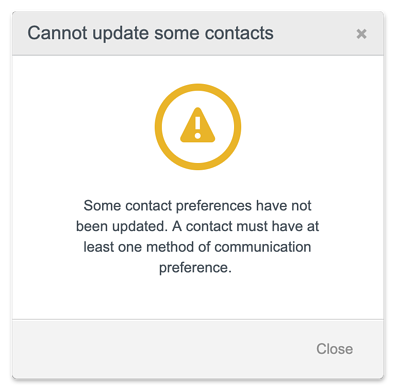 Cannot update contacts pop up