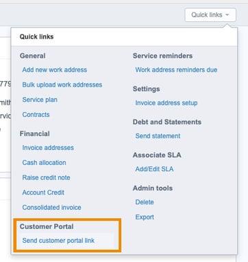 customer portal quick links