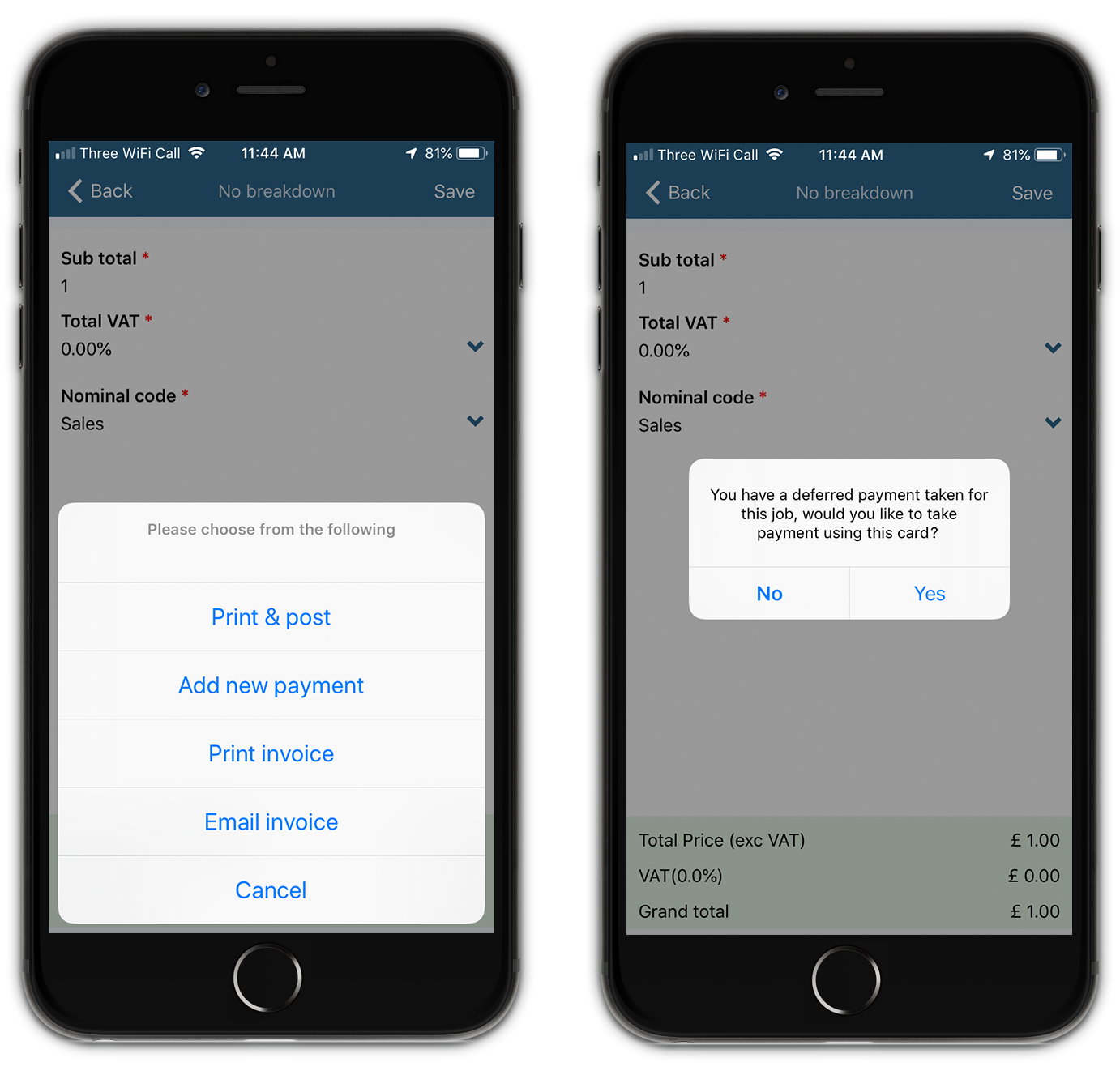 deferred payment mobile invoice