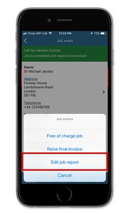 Edit a completed job report on iOS