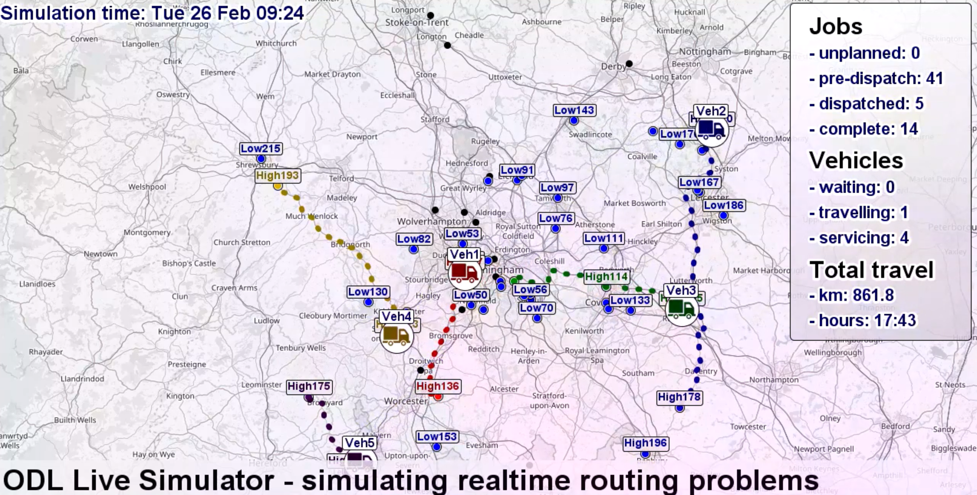 ODL Live Simulator of route optimisation software on a map of the united kingdom